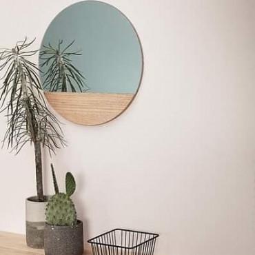 Miroir insert bois rond