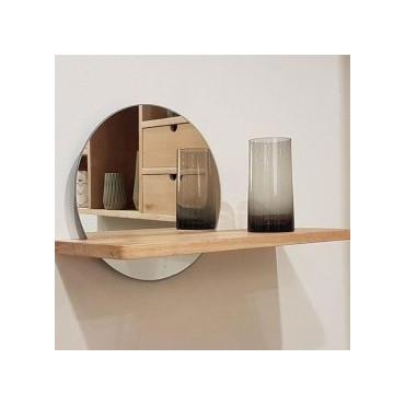 Miroir étagère bois