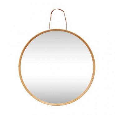miroir cadre bois anse cuir
