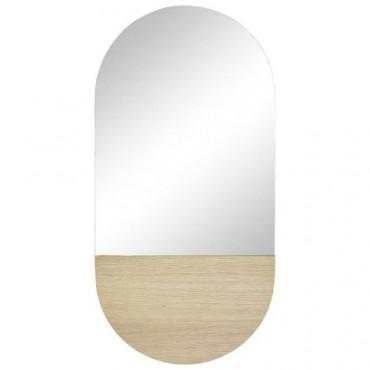 miroir insert bois oval