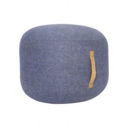 pouf laine bleu poignée cuir