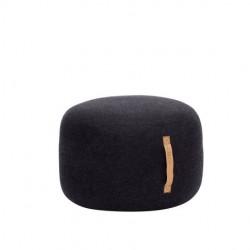 pouf laine noir poignée cuir
