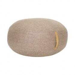 pouf laine brun poignée cuir