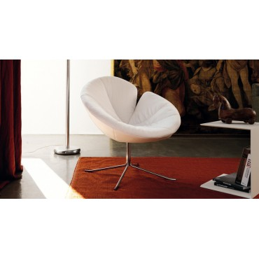 FAUTEUIL ONE FLO MONOCOLORE CUIR FASHION BIANCO